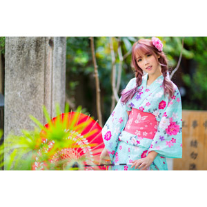 フリー写真, 人物, 女性, アジア人女性, 中国人, 女性(00173), 和服, 浴衣, 日傘, ツインテール, 三つ編み