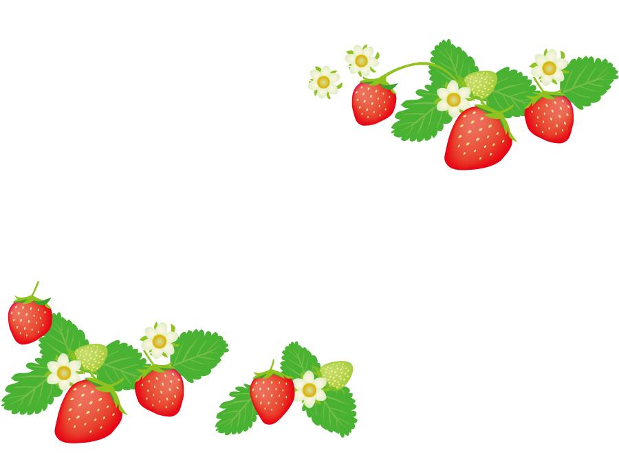 フリーイラスト 葉っぱの付いたいちごの飾り枠