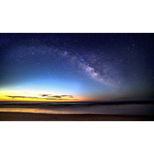 フリー写真, 風景, 自然, 日暮れ, ビーチ(砂浜), 星(スター), 天の川