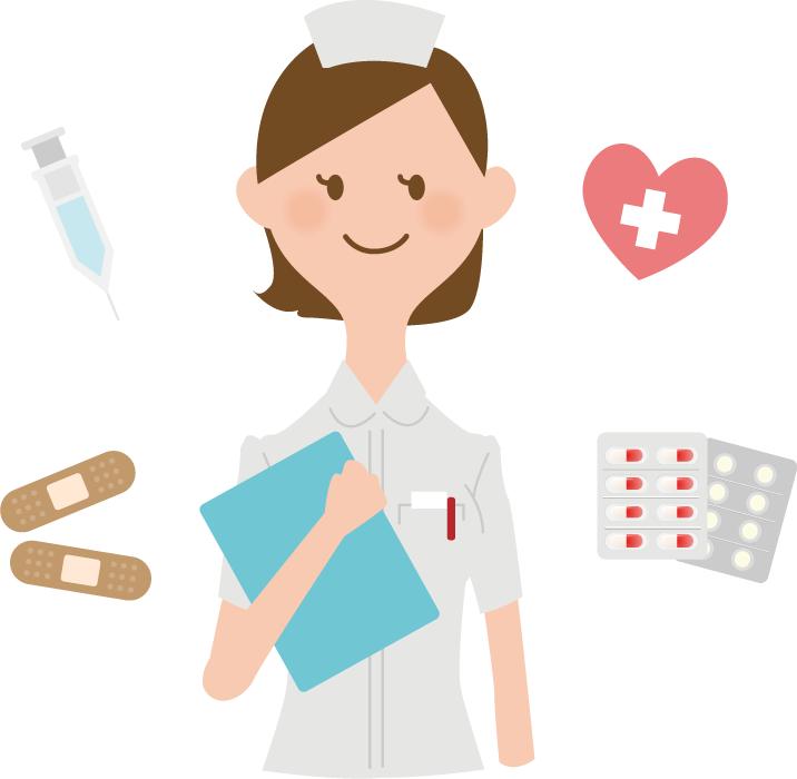 フリーイラスト 看護師と医療関係のセット