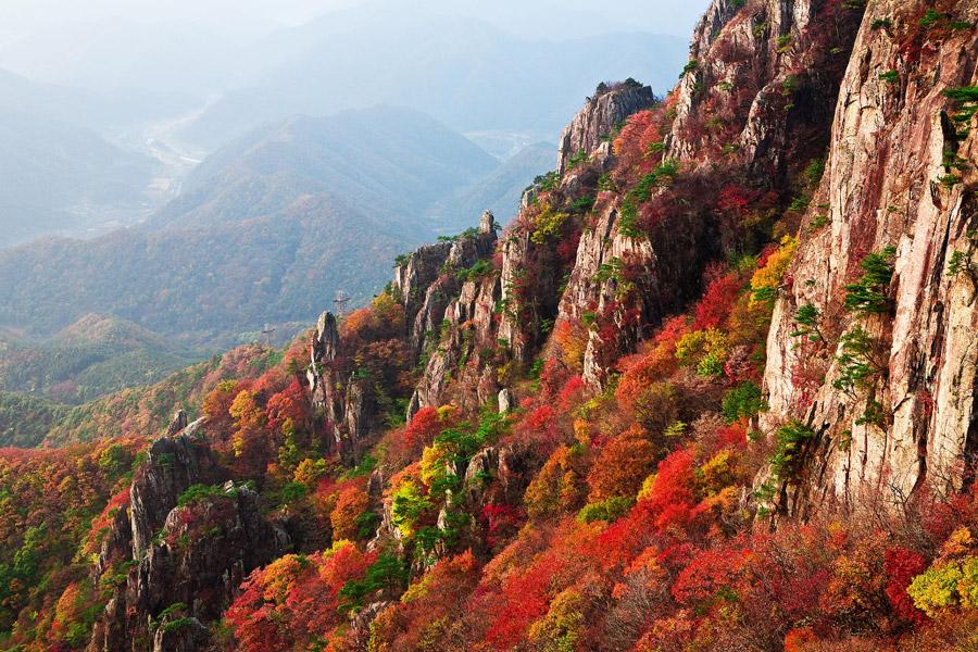 フリー写真 紅葉した山の風景