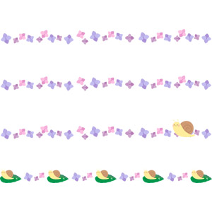 フリーイラスト, ベクター画像, AI, 飾り罫線(ライン), 梅雨, 6月, 紫陽花(アジサイ), カタツムリ
