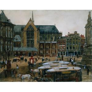 フリー絵画, 風景画, 建造物, 建築物, ダム広場, オランダの風景, アムステルダム, 旧市街, 馬車