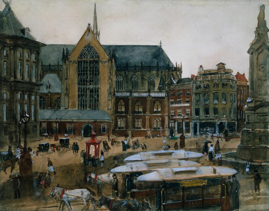 フリー絵画 ヘオルヘ・ヘンドリック・ブレイトネル作「アムステルダムのダム広場」