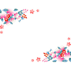 フリーイラスト, ベクター画像, AI, 背景, フレーム, 対角フレーム, 花, 桜(サクラ), 梅(ウメ), 春, 和柄