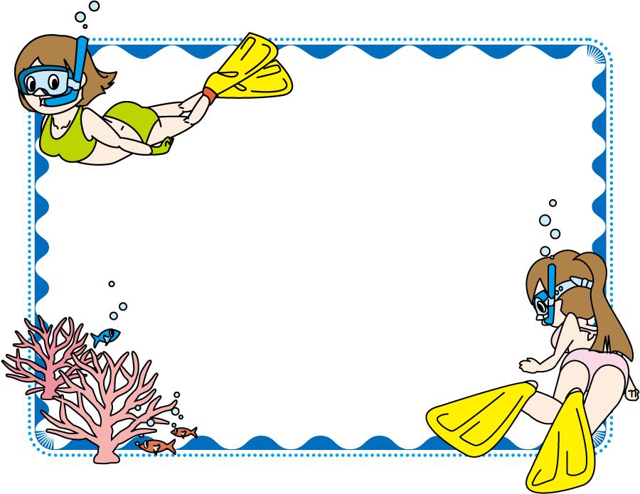 フリーイラスト シュノーケリング中の二人の女性の飾り枠