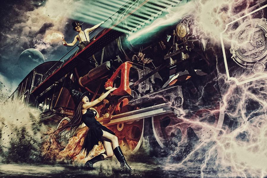 フリー写真 蒸気機関車を止める魔女