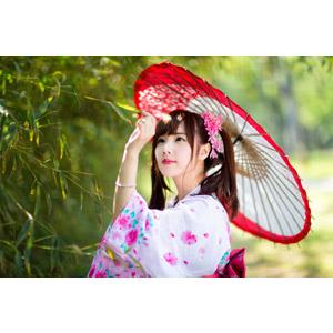 フリー写真, 人物, 女性, アジア人女性, 中国人, apple(00128), 日傘, 浴衣, 和服