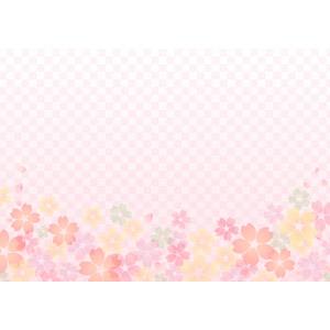 フリーイラスト, ベクター画像, AI, 背景, 花柄, 桜(サクラ), 市松模様, ピンク色