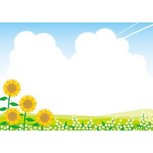 フリーイラスト, ベクター画像, EPS, 風景, 自然, 植物, 花, 向日葵(ヒマワリ), 夏, 雲, 積乱雲(入道雲), 飛行機雲