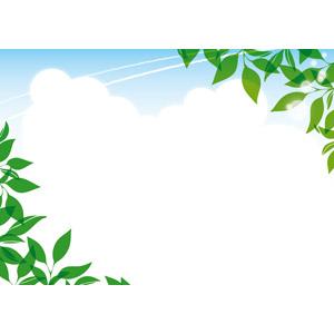 フリーイラスト, ベクター画像, EPS, 風景, 自然, 植物, 葉っぱ, 夏, 雲, 積乱雲(入道雲), 飛行機雲