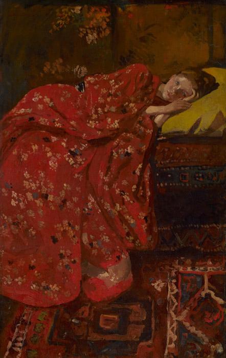 フリー絵画 ヘオルヘ・ヘンドリック・ブレイトネル作「赤い着物の少女」