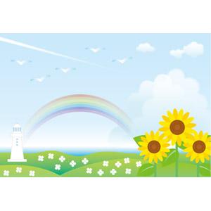 フリーイラスト, ベクター画像, AI, 風景, 虹, 花, 向日葵(ヒマワリ), 夏, 海, 灯台(ライトハウス), 飛行機雲
