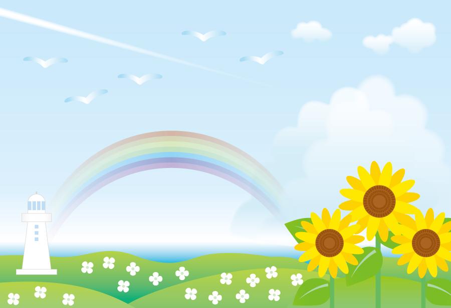 フリーイラスト ひまわりと虹と灯台の風景