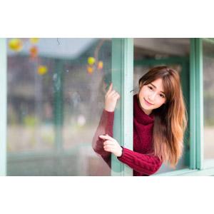 フリー写真, 人物, 女性, アジア人女性, 女性(00176), 中国人, セーター(ニット)