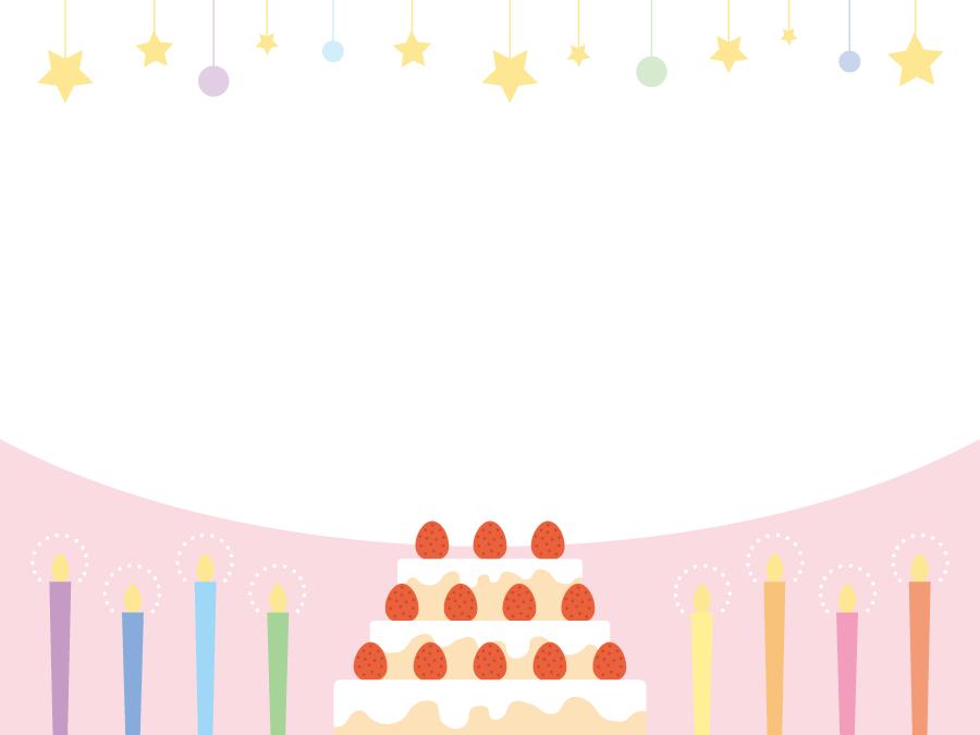 フリーイラスト バースデーケーキとろうそくの誕生日フレーム
