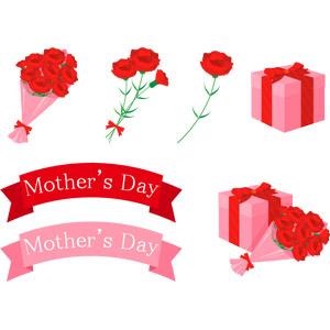 フリーイラスト, ベクター画像, AI, 年中行事, 母の日, 5月, 植物, 花, カーネーション, 赤色の花, プレゼント, 帯リボン, 花束, プレゼント箱