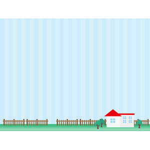 フリーイラスト, ベクター画像, AI, 背景, 住宅, 家(一軒家), 柵(フェンス), 縞模様(ストライプ)