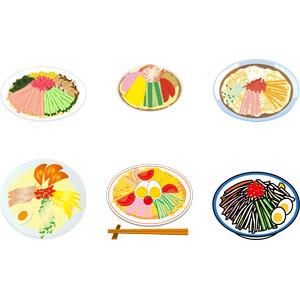 フリーイラスト, ベクター画像, AI, 食べ物(食料), 麺類, 料理, 日本料理, 冷やし中華, 夏