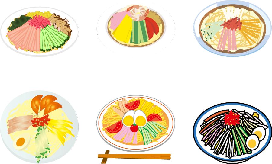 フリーイラスト 6種類の冷やし中華のセット