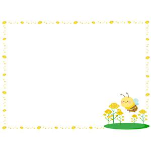 フリーイラスト, ベクター画像, AI, 背景, フレーム, 囲みフレーム, 植物, 花, 菜の花(アブラナ), 黄色の花, 春, 昆虫, 蜂(ハチ), 蜜蜂(ミツバチ)