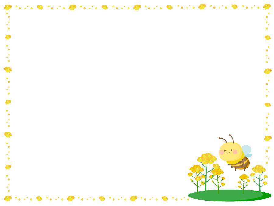 フリーイラスト 菜の花と蜜蜂の飾り枠