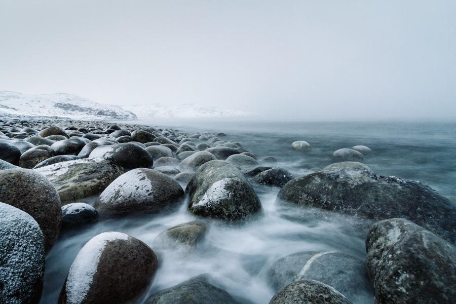 フリー写真 冬のロシアの海岸風景
