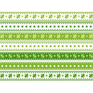 フリーイラスト, ベクター画像, AI, 飾り罫線(ライン), クローバー(シロツメクサ), 四つ葉のクローバー, レース編み, 緑色(グリーン)