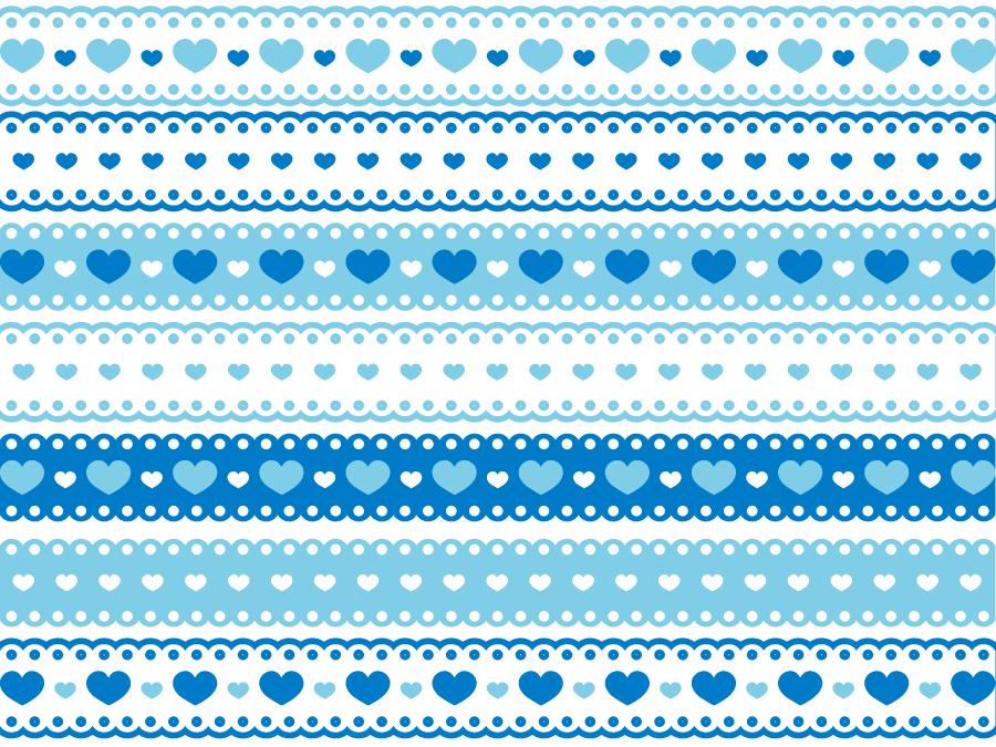 フリーイラスト 7種類のハートのレース飾りの罫線のセット