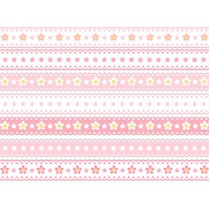 フリーイラスト, ベクター画像, AI, 飾り罫線(ライン), レース編み, 桜(サクラ), 春, ピンク色