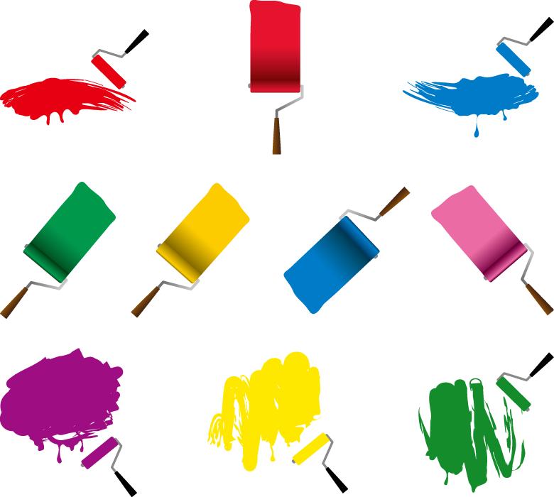 フリーイラスト 10種類のペイントローラーでのペンキ塗り