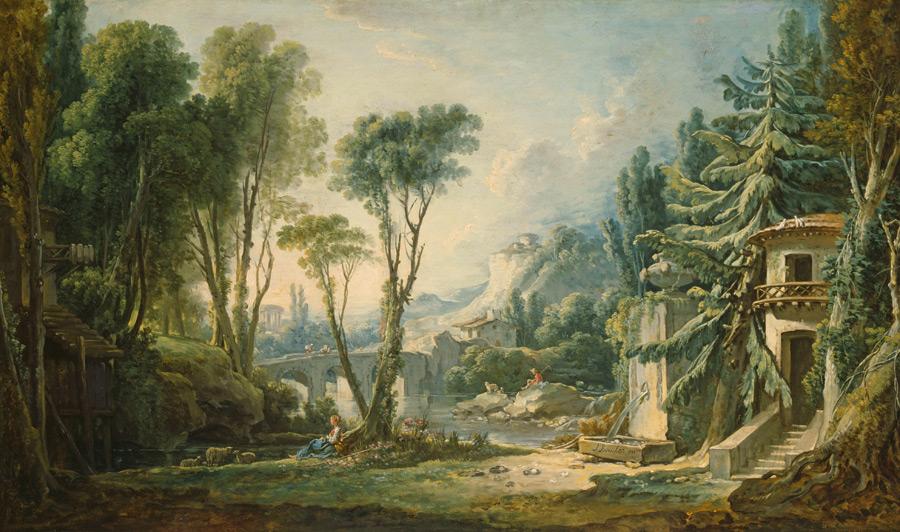 フリー絵画 フランソワ・ブーシェ作「牧歌風景」