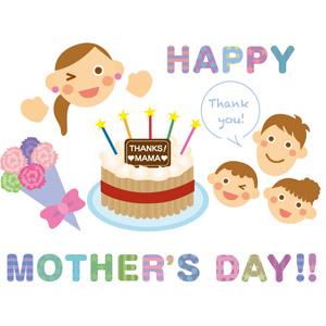 フリーイラスト, ベクター画像, EPS, 背景, 年中行事, 母の日, 5月, プレゼント, 花束, ありがとう, ケーキ, 家族, 親子, 父親(お父さん), 母親(お母さん), 子供