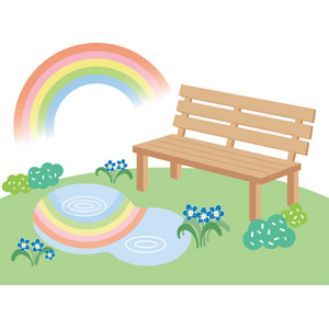 フリーイラスト, ベクター画像, EPS, 虹, 水たまり, 花, ベンチ