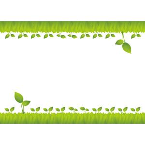 フリーイラスト, ベクター画像, AI, 背景, フレーム, 上下フレーム, 植物, 新芽, 緑色(グリーン)