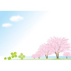 フリーイラスト, ベクター画像, AI, 背景, 青空, 桜(サクラ), 春, 樹木, 四つ葉のクローバー, クローバー(シロツメクサ)