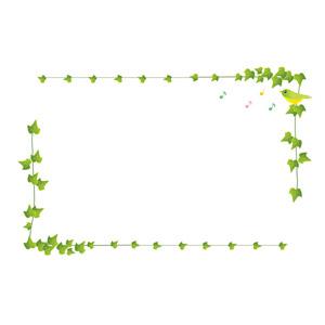 フリーイラスト, ベクター画像, AI, 背景, フレーム, 囲みフレーム, 植物, 蔦(ツタ), 葉っぱ, 小鳥, 音符