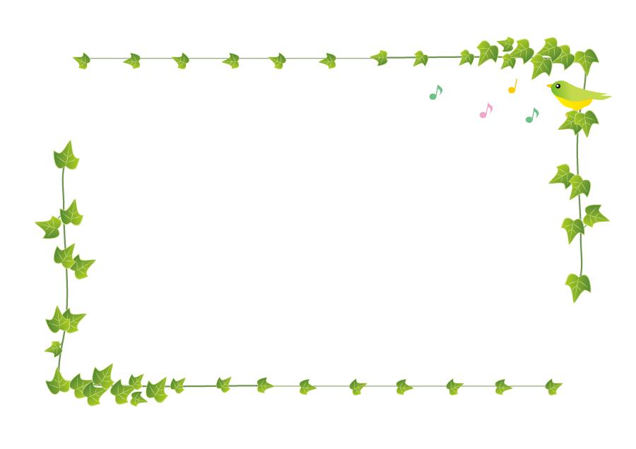 フリーイラスト 蔦と小鳥の飾り枠