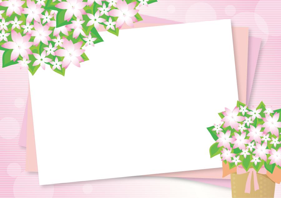 フリーイラスト ピンク色の花とボーダー柄の飾り枠