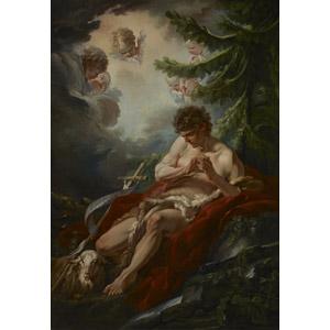 フリー絵画, フランソワ・ブーシェ, 宗教画, キリスト教, 新約聖書, 洗礼者ヨハネ, 天使(エンジェル)