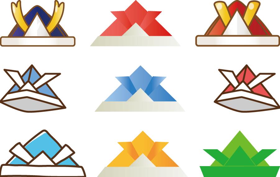 フリーイラスト 9種類の折り紙の兜のセット