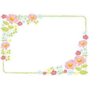 フリーイラスト, ベクター画像, AI, 背景, フレーム, 囲みフレーム, 植物, 花, マーガレット