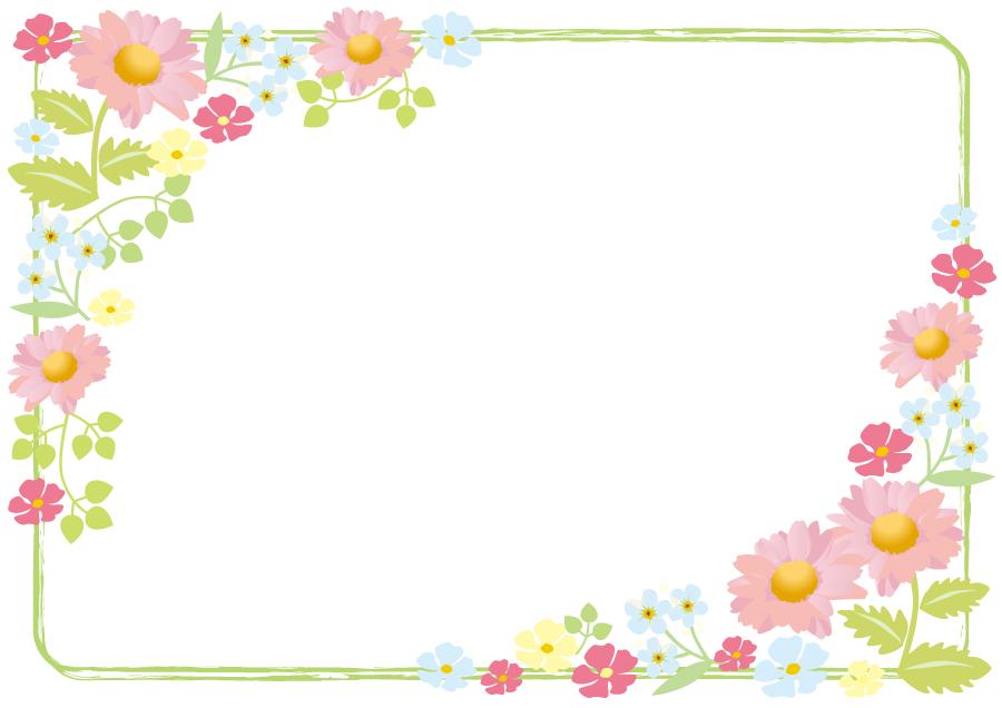 フリーイラスト マーガレットなどの花の飾り枠