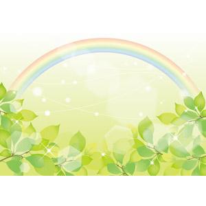 フリーイラスト, ベクター画像, AI, 背景, 植物, 葉っぱ, 新緑, 虹, 輝き