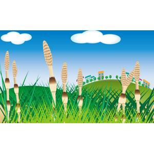 フリーイラスト, ベクター画像, AI, 風景, 青空, 丘, 植物, 雑草, 土筆(ツクシ), スギナ, 春