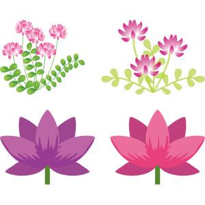 フリーイラスト, ベクター画像, AI, 植物, 花, 蓮華草(レンゲソウ), 春