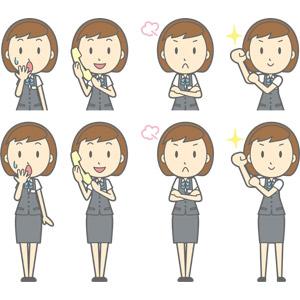 フリーイラスト, ベクター画像, AI, 人物, 女性, 女性(00150), ビジネス, OL(オフィスレディ), 職業, 仕事, 事務服, 失敗, 冷や汗をかく, 固定電話, 通話, 怒る, 腕を組む, 頑張る
