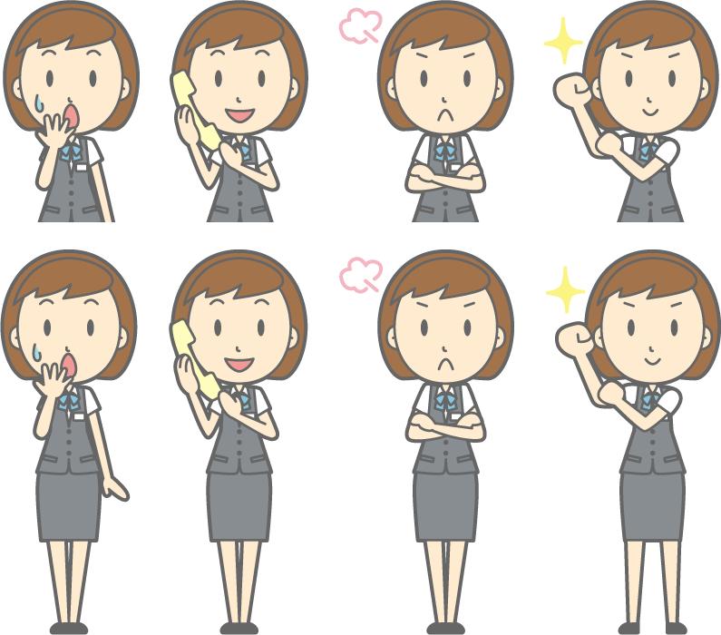 フリーイラスト 腕まくりするなどの8種類の女性OLのセット