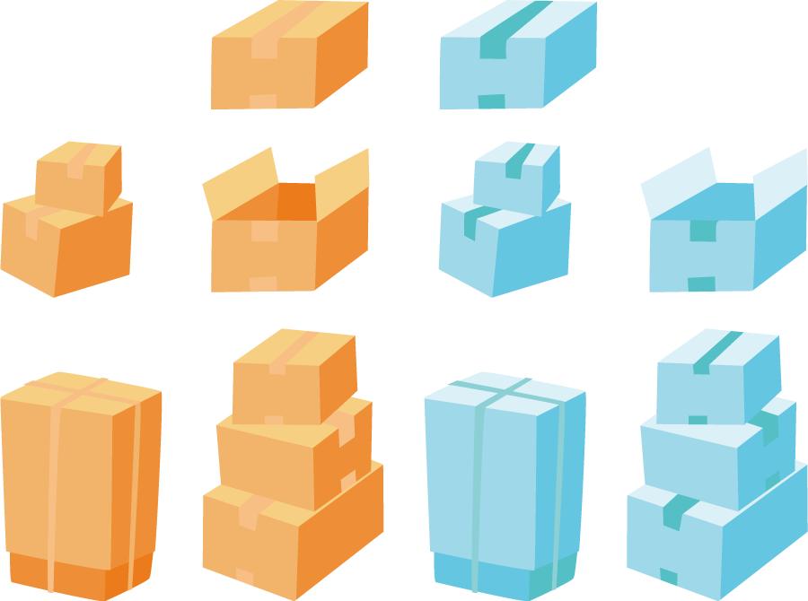 フリーイラスト 10種類の引越しの荷物のセット
