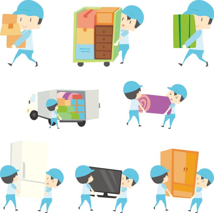 フリーイラスト 荷物を運ぶ8種類の引越し業者のセット